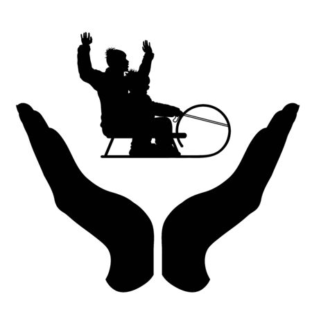 Vector silhouette of a hand in a protection gesture protecting a sledding father and son. Symbol of insurance, family, infant, sport, sledge, sled, speed, winter, snow, healthy, people, person, defensive, safe, security, support. Imagens - 134170269