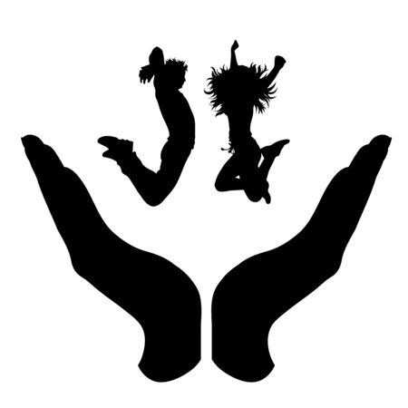 Vector silhouette of a hand in a protection gesture protecting a jumping girl and boy. Symbol of insurance, man, male, couple, pair, woman, female, sport, jump, healthy, people, person, defensive, safe, security, support. Imagens - 134170272