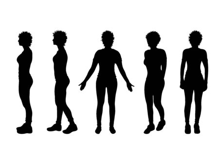 Vector silhouette of collection of slim women on white background. Symbol of girl, people, healthy, diet, walk, body, sport.
