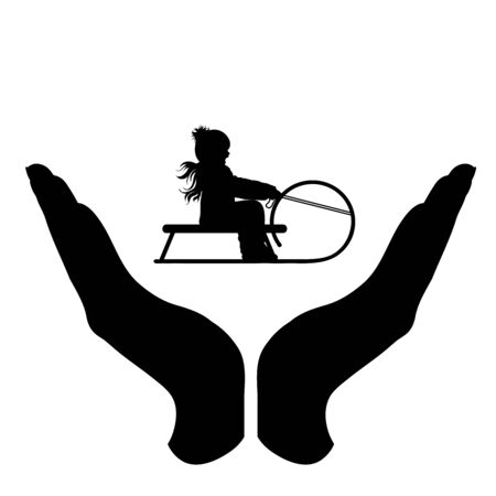 Vector silhouette of a hand in a protection gesture protecting a sledding girl. Symbol of insurance, infant, sport, sledge, sled, speed, child, infantile, winter, snow, healthy, people, person, defensive, safe, security, support.