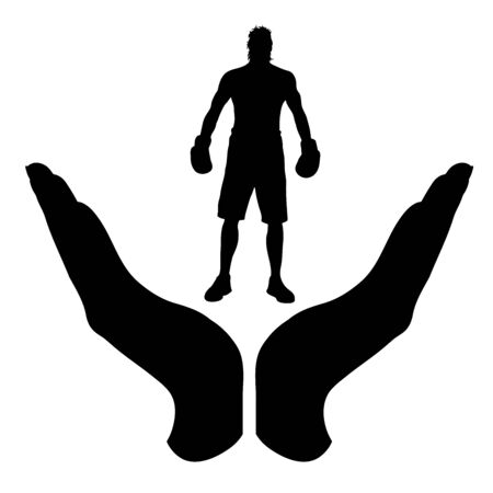 Vector silhouette of a hand in a protection gesture protecting a boxing boy. Symbol of insurance, man, male, people, person, sport, box, danger, match, defensive, healthy, safe, security, support.