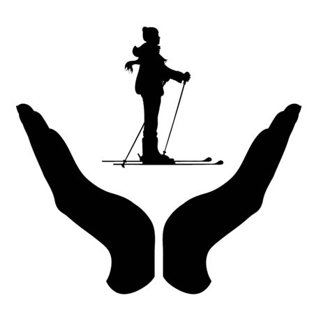 Vector silhouette of a hand in a protection gesture protecting a skiing boy. Symbol of insurance, man, male, sport, ski, winter, snow, healthy, people, person, defensive, safe, security, support.