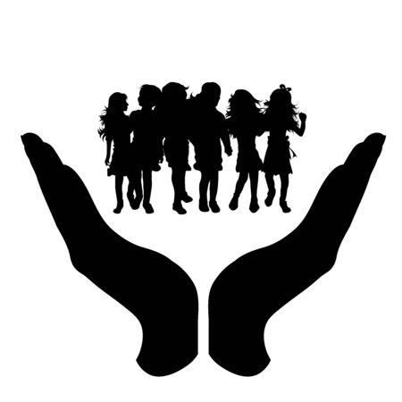 Vector silhouette of a hand in a protection gesture protecting a group of children. Symbol of insurance, child, girl, friends, school, student, nursery, infantile, female, people, person, defensive, healthy, safe, security, support.