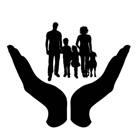Vector silhouette of a hand in a protection gesture protecting a family. Symbol of insurance, woman, female, man, child, daughter, son, dog, pet, wife, husband, people, person, defensive, healthy, safe, security, support.