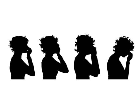 Vector silhouette of collection of face´s women on white background. Symbol of girl, people, head, hair, face, sad, cry, scream, stress, pain, profile.