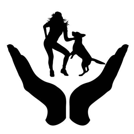 Vector silhouette of a hand in a protection gesture protecting a girl with dog. Symbol of insurance, woman, pet, animal, dance, play, female, people, person, defensive, healthy, safe, security, support. Illustration