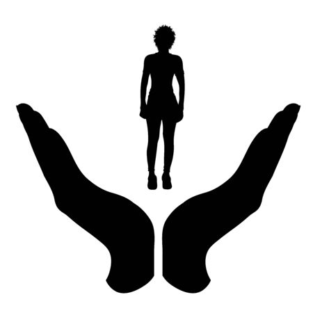 Vector silhouette of a hand in a protection gesture protecting a girl. Symbol of insurance, woman, female, people, person, defensive, healthy, safe, security, support. Imagens - 134173955