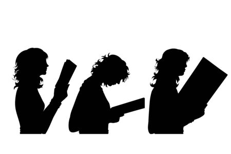 Vector silhouette of collection of profile of women who read on white background. Symbol of girl, people, head, hair, face, book, study, student, profile.