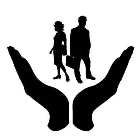 Vector silhouette of a hand in a protection gesture protecting a couple. Symbol of insurance, man, male, couple, pair, woman, female, business, work, manager, healthy, team, people, person, defensive, safe, security, support.