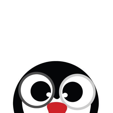 Ilustración de vector de pingüino sobre fondo blanco. Símbolo de animal, mascota, ojos, curioso, Antártida.