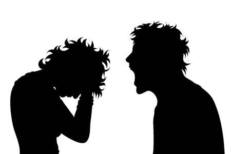 Vektorschattenbild des Paares auf weißem Hintergrund. Ein Mann schreit eine Frau an. Eine weinende Frau. Symbol für Wut, Gewalt, Schreien, Zorn, Gift, Mobbing, Tyrannei.