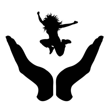 Vector silhouette of a hand in a protection gesture protecting a jumping girl. Symbol of insurance, woman, female, sport, jump, healthy, people, person, defensive, safe, security, support.