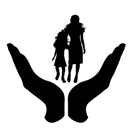Vector silhouette of a hand in a protection gesture protecting a family. Symbol of insurance, woman, female, child, daughter, mother, people, person, defensive, healthy, safe, security, support, kiss, hug.