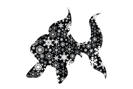 Vector silhouette of snowy fish on white background. Symbol of winter, animal, lake, river, sea, food, fishing, season, snow, cold, snowflake, Christmas, frost. Ilustração
