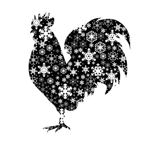 Vector silhouette of snowy rooster on white background. Symbol of winter, farm, cock, bird, breeding, garden, animal, season, snow, cold, snowflake, Christmas, frost. Foto de archivo - 134624165