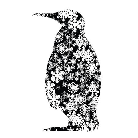 Vector silhouette of snowy penguin on white background. Symbol of winter, animal, antarctica, season, snow, cold, snowflake, Christmas, frost.