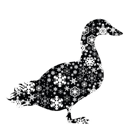 Vector silhouette of snowy goose on white background. Symbol of winter, farm, bird, breeding, garden, animal, season, snow, cold, snowflake, Christmas, frost.