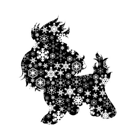 Vector silhouette of snowy dog on white background. Symbol of winter, pet, puppy, home, animal, season, snow, cold, snowflake, Christmas, frost.