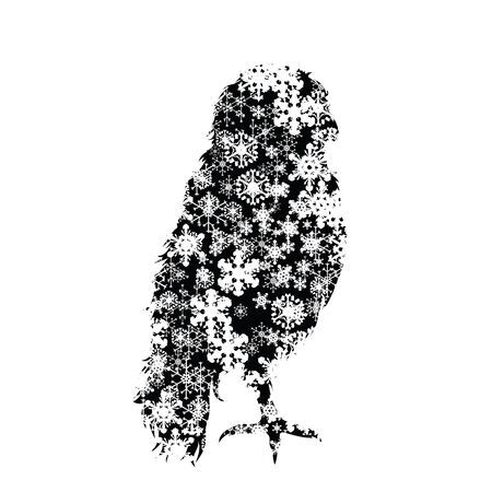Vector silhouette of snowy owl on white background. Symbol of winter, bird, forest, wild, season, snow, cold, snowflake, Christmas, frost. Stock Illustratie