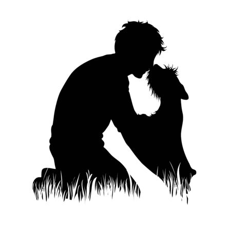 Vector silhouette of man with dog in the grass on white background. Symbol of boy, people, animal, pet, training, nature, park, garden. Stock Vector - 134840358