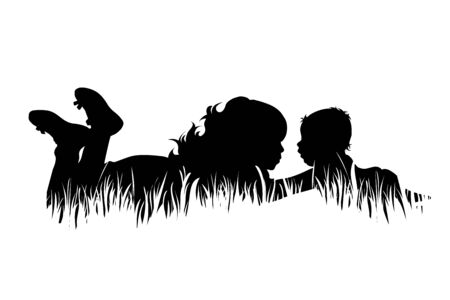 Vector silhouette of siblings in the grass on white background. Symbol of girl, boy, sister, brother, baby,family, infant, childhood, nature, park, garden.