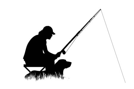 Vector silhouette of fishing men in the grass on white background. Symbol of boy, people, fish, dog, sport, friends, nature, park, lake, river.