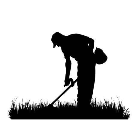 Vector silhouette of man who cutting the grass with a brush cutter on white background. Symbol of boy, people, work, worker, tool, gardener, nature, park, garden. Vektorové ilustrace