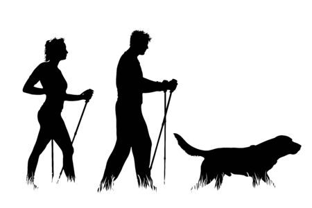 Vektorschattenbild des Paares mit Hund im Gras auf weißem Hintergrund. Symbol für Mädchen, Junge, Ehefrau, Ehemann, Haustier, Menschen, Natur, Park, Wandern, Nordic. Vektorgrafik