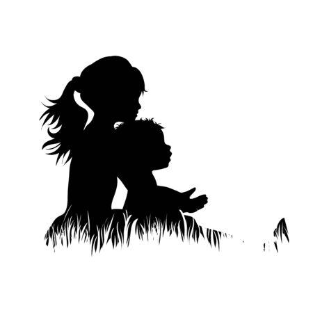 Silhouette vecteur de frères et sœurs dans l'herbe sur fond blanc. Symbole de fille, garçon, soeur, frère, bébé, famille, nourrisson, enfance, nature, parc, jardin. Vecteurs