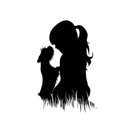 Vector silhouette of child with dog in the grass on white background. Symbol of girl, play, game, pet, animal, friends, infant, childhood, nature, park, garden. Vector Illustration