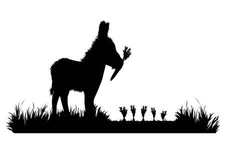 Vector silhouette of donkey eat carrot on garden. Symbol of animal, field, farm, destroy, corp, pest. 版權商用圖片 - 136979553
