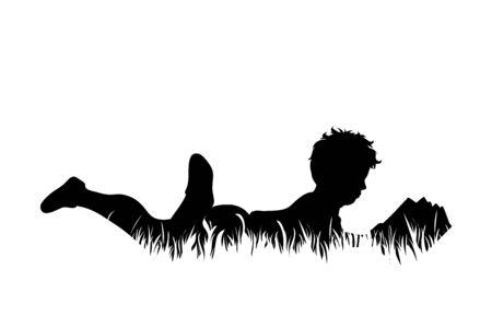 Vektorschattenbild des Jungen, der im Gras liegt und Buch auf weißem Hintergrund liest. Symbol für Kind, Säugling, Kindheit, Natur, Park, Garten.