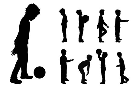 Vector silhouette of collection of boys in different pose on white background. Symbol of child, children, friends, school, student, nursery, childhood. Illustration