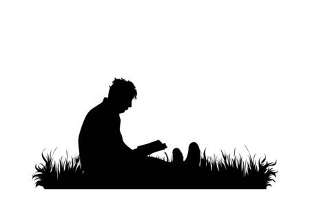 Vector silhouette of man who read book in the grass on white background. Symbol of story, rest, nature, park, garden. Vettoriali