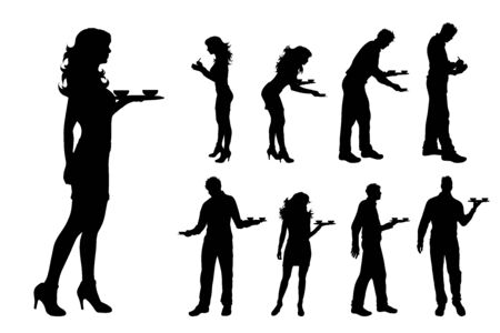 Vector silhouette of collection of waiter on white background. Symbol of man, woman, bar, restaurante, barman, work.