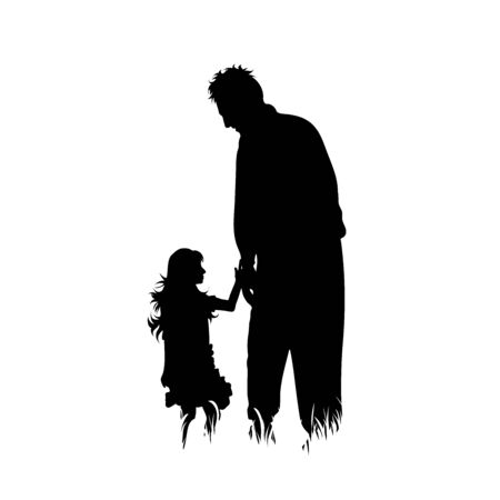 Vector silhouette of grandfather with his granddaughter walks in the grass on white background. Symbol of family, care, love, nature, park, garden.