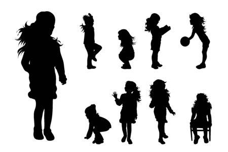 Siluetta di vettore della raccolta di ragazze in posa diversa su priorità bassa bianca. Simbolo di bambino, bambini, amici, scuola, studente, scuola materna, infanzia.
