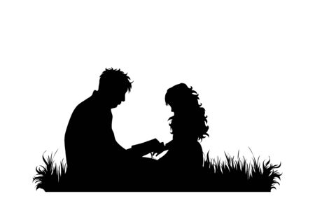 Vector silhouette of grandfather with his granddaughter sit in the grass and read book on white background. Symbol of family, care, love, nature, park, garden.  イラスト・ベクター素材