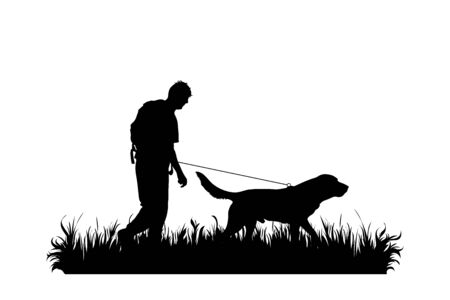 Vector silhouette of man who walking with his dog in the grass on white background. Symbol of pet, animal, trip, hike, nature, park, garden. Illustration