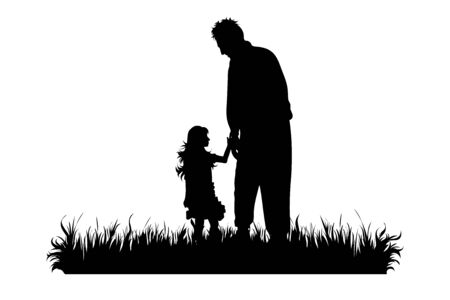 Vector silhouette of grandfather with his granddaughter walks in the grass on white background. Symbol of family, care, love, nature, park, garden.  イラスト・ベクター素材