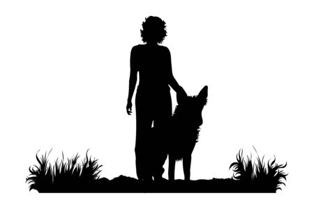 Vector silhouette of woman who standing with her dog on the path on white background. Symbol of girl, people, sport, hike, path, pet, park.