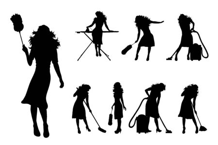 Vector silhouette of collection of women in different pose on white background. Symbol of girl, people, healthy, dance, body. Illustration