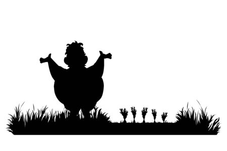 Vector silhouette of gardener works on garden. Symbol of boy, tool, work, people, field, farm, care.