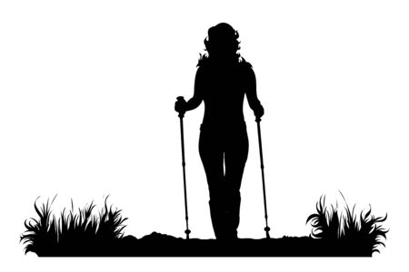 Vector silhouette of woman who walking with nordic walking in the nature on white background. Symbol of girl, people, sport, hike, path, park.