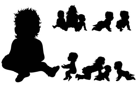 Vector silhouette of collection of children in different pose on white background. Symbol of child, toddler, friends, nursery, childhood, family. Иллюстрация