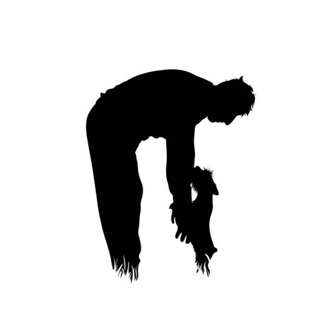 Vector silhouette of man who playing with his dog in the grass on white background. Symbol of pet, animal, game, nature, park, garden. Illustration