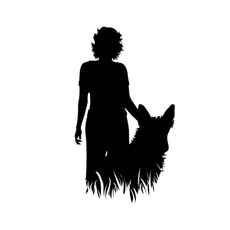 Vector silhouette of woman who standing with her dog in the grass on white background. Symbol of girl, people, sport, hike, path, pet, park.