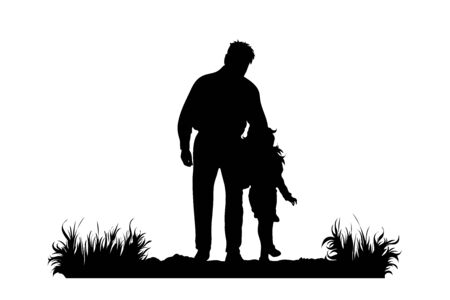 Vector silhouette of grandfather with his granddaughter walks on the path on white background. Symbol of family, care, love, nature, park, garden.  イラスト・ベクター素材