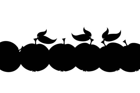 Vector silhouette of apple on white background. Symbol of fruit fall down prepair for harvest in the autumn.