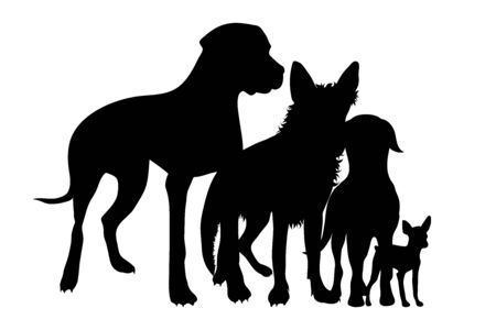 Vector silhouette of dog on white background. Symbol of group of pets who plays together. Reklamní fotografie - 138275777